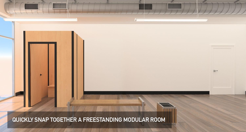 Temporary modular display system, dressing rooms