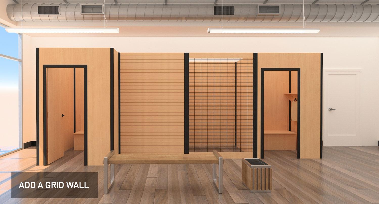 Temporary modular display system, grid wall