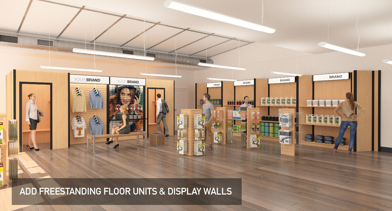 Temporary modular display system, floor displays