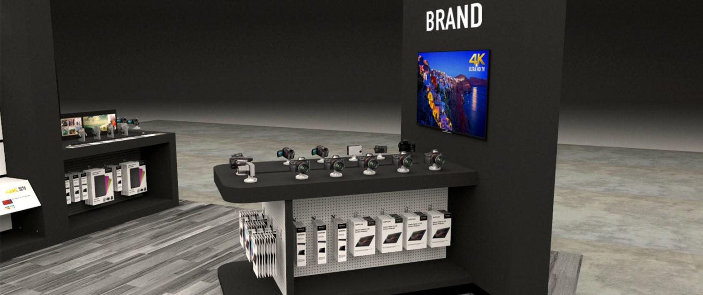 Electronics freestanding display table slatwall