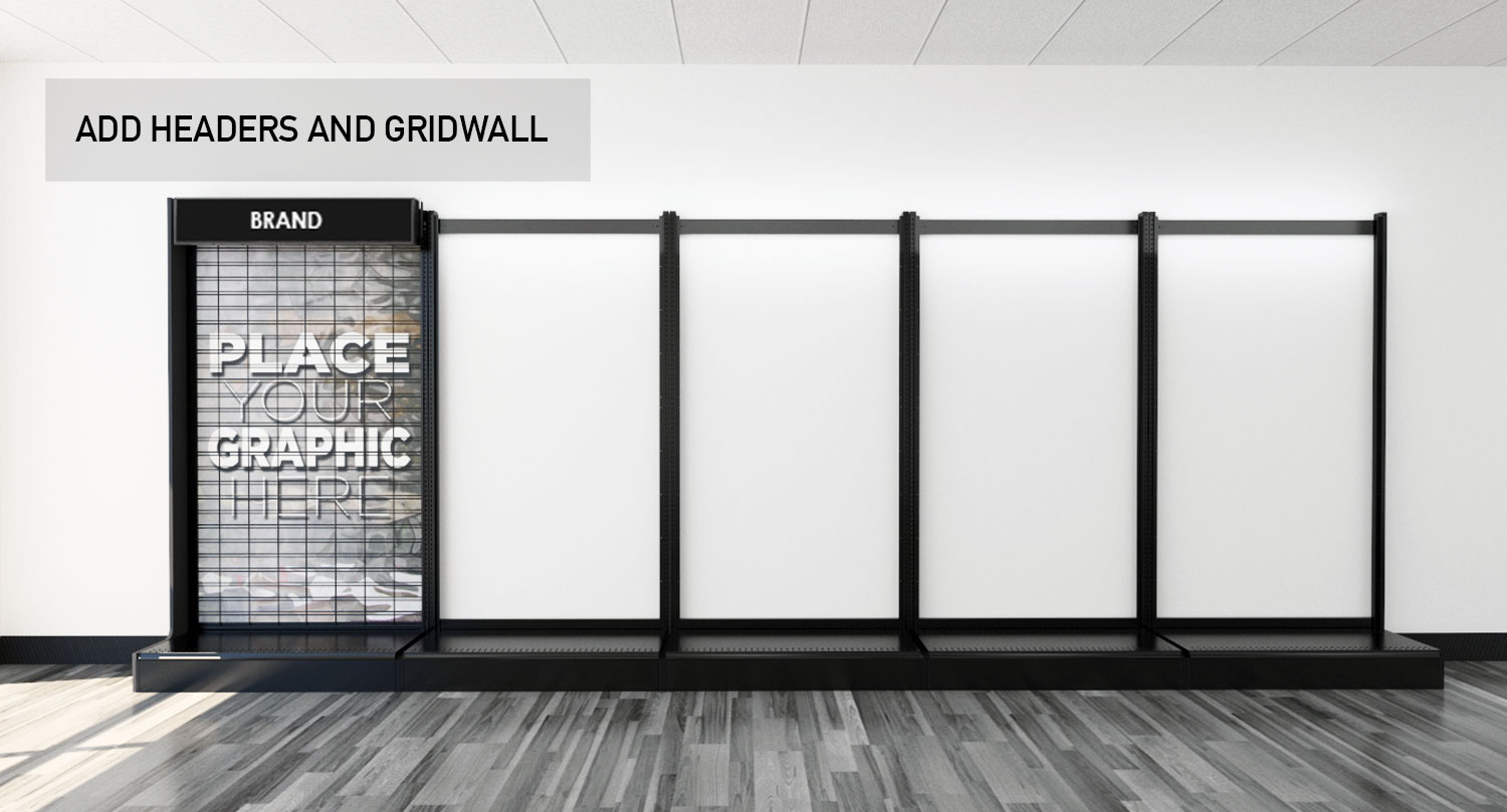 Retail Store Gondola Wall Modular Product Displays Headers and Gridwall