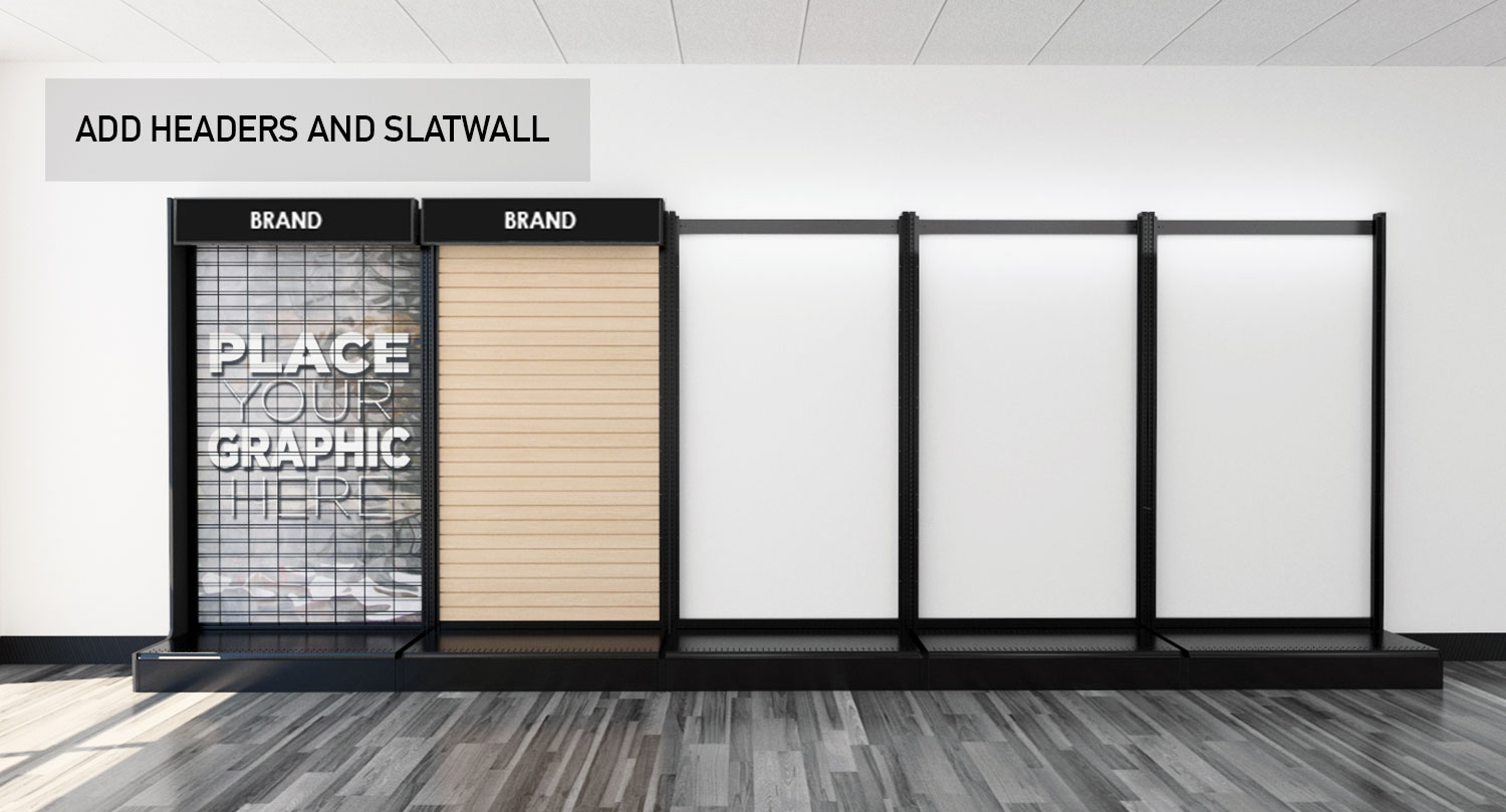 Retail Store Gondola Wall Modular Product Displays Headers and Slatwall Panels