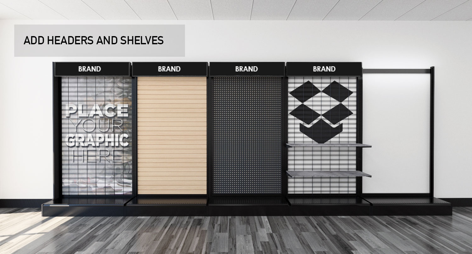 Retail Store Gondola Wall Modular Product Displays Headers and Shelves