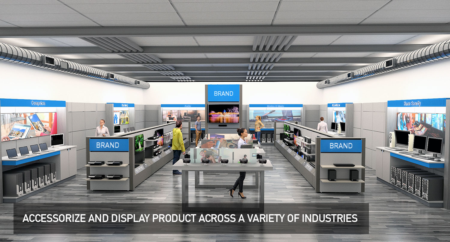 Retail Store Floor and Wall Modular Product Displays