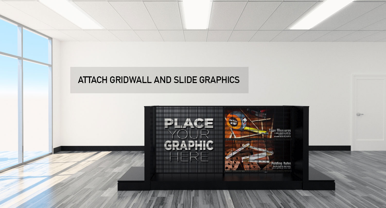 Retail Store Gondola Floor and Wall Modular Product Displays Gridwall and Slide Graphics
