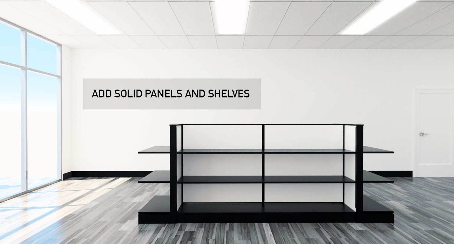 Retail Store Gondola Floor Modular Product Displays Panels and Shelves