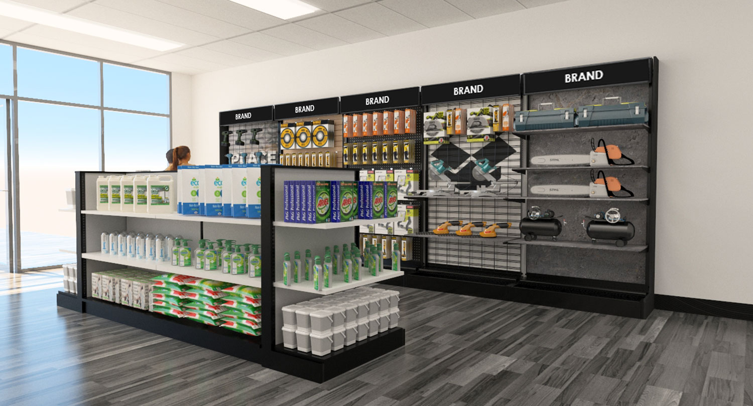 Retail Store Gondola Floor and Wall Modular Product Displays